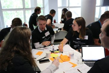 Team working at Blackstone LaunchPad IoTathon which brought together post-graduate students from Trinity College Dublin, NUI Galway, and University College Cork (Photo Courtesy: Alan Weldon/Blackstone LaunchPad)