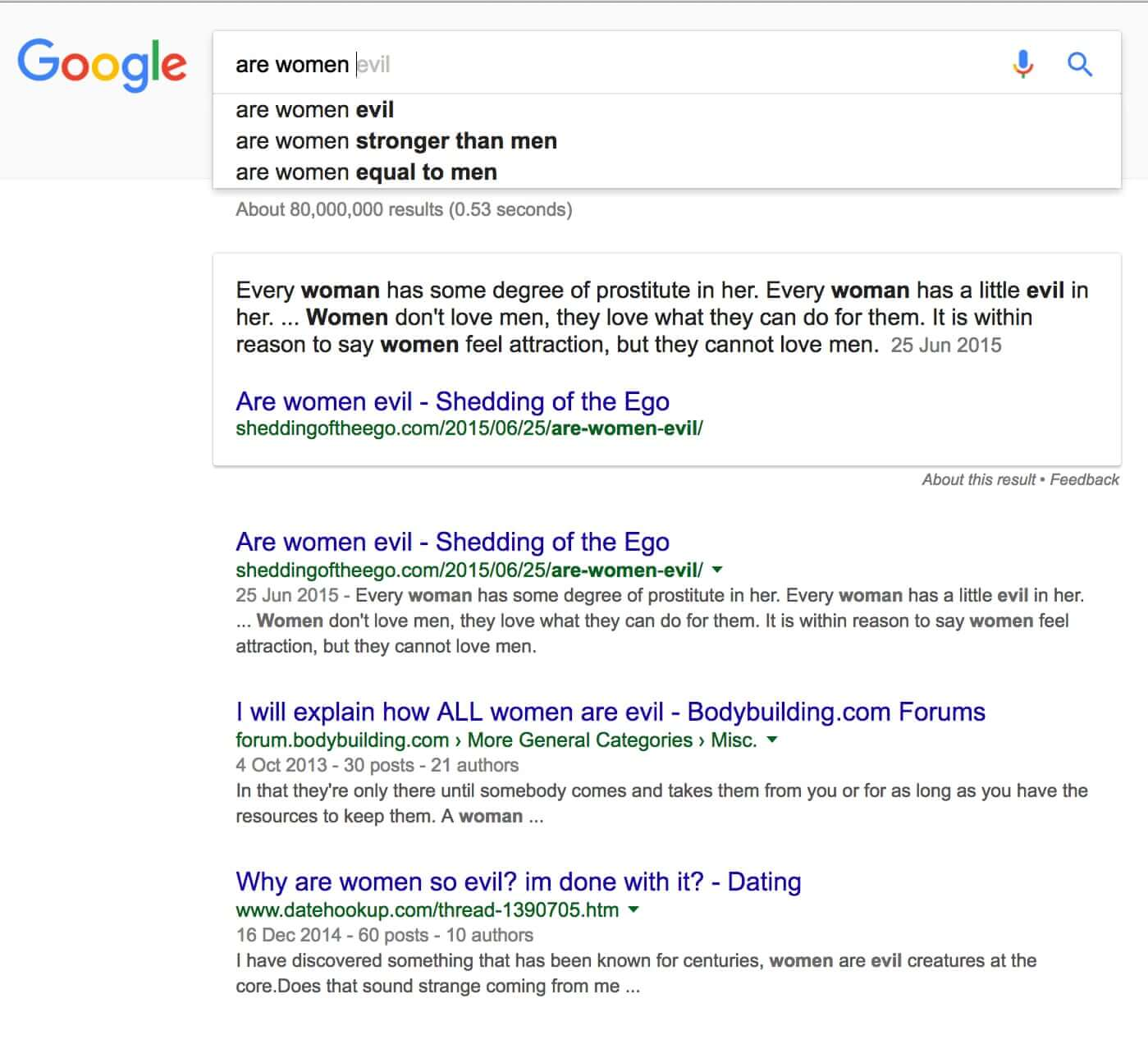 are women evil google result and autocomplete search image